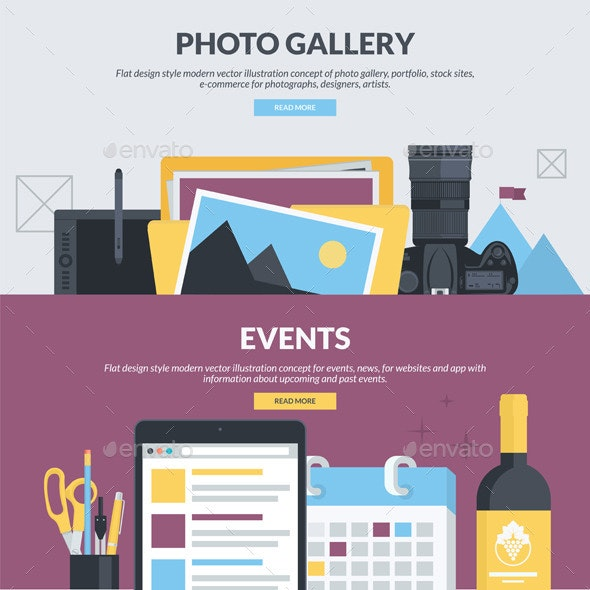 Flat Design Banners for Photo Gallery and Events - Media Technology