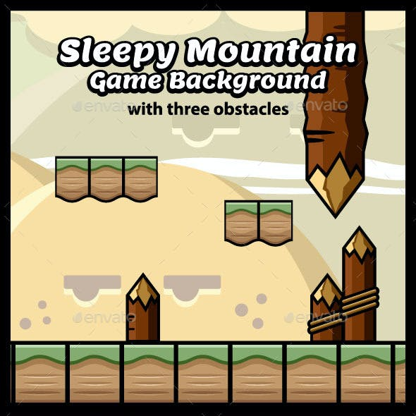 Sleepy Mountain Game Background with Obstacles
