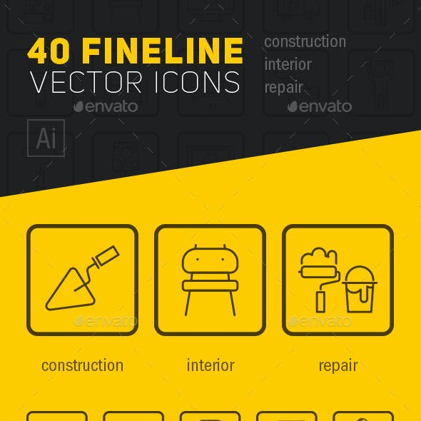 Fineline construction vector icons
