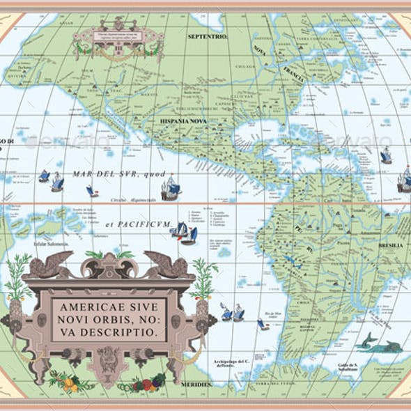 Vintage Old Map of South and North America