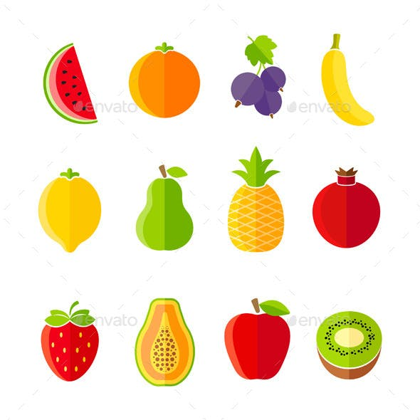 Organic Fresh Fruits and Berries Icons Set