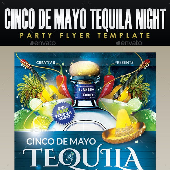 Cinco De Mayo Tequila Night Party Flyer Template