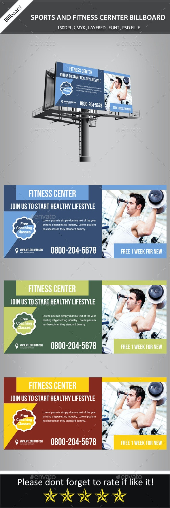 Fitness Center Billboard Banner Psd Template - Signage Print Templates