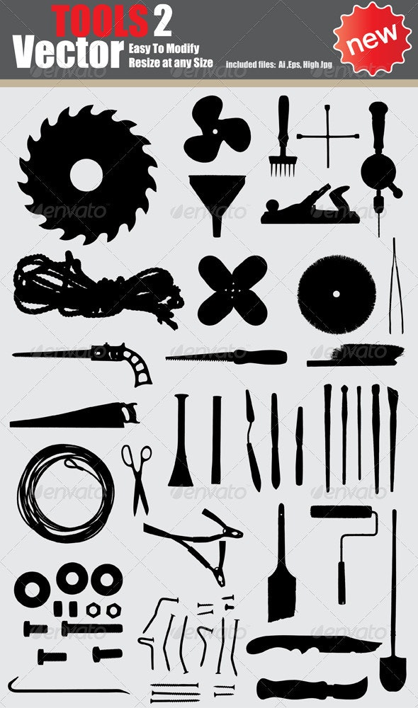 Vector Tools Silhouette Set  - Man-made Objects Objects