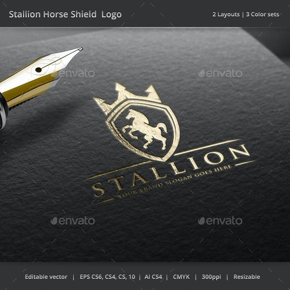 Stallion Horse Shield Crest Logo