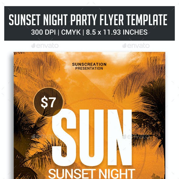 Sunset Night Party Flyer