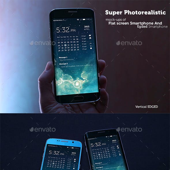 Photorealistic Mobile Mockups - Flat And Edged