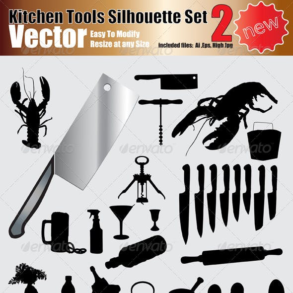 Vector Kitchen Tools Silhouette Set