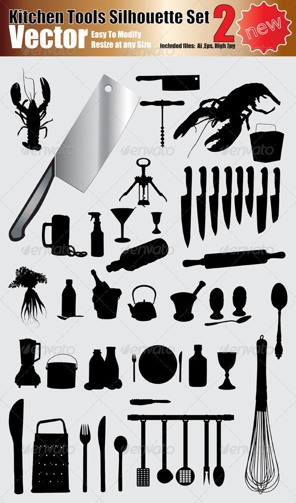 Vector Kitchen Tools Silhouette Set - Man-made Objects Objects