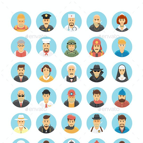 120 Flat Persons Icons