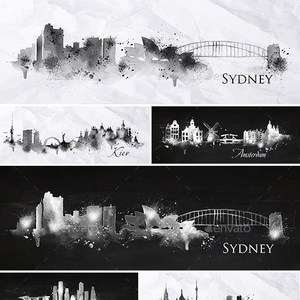 Cities Silhouettes Black and White