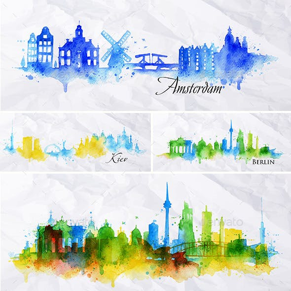 Cities Silhouette Overlay and Watercolor