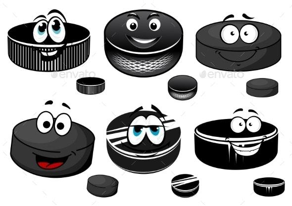 Cartoon Black Ice Hockey Pucks Characters - Sports/Activity Conceptual