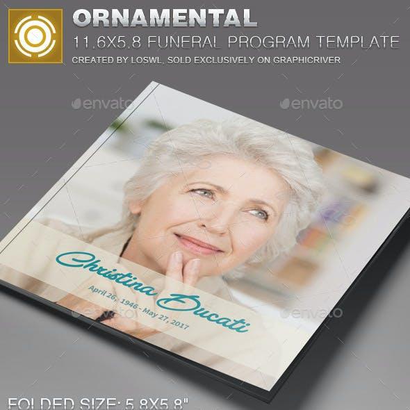Ornamental Funeral Program Template