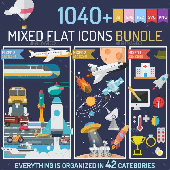 Mixed Flat Icons Bundle