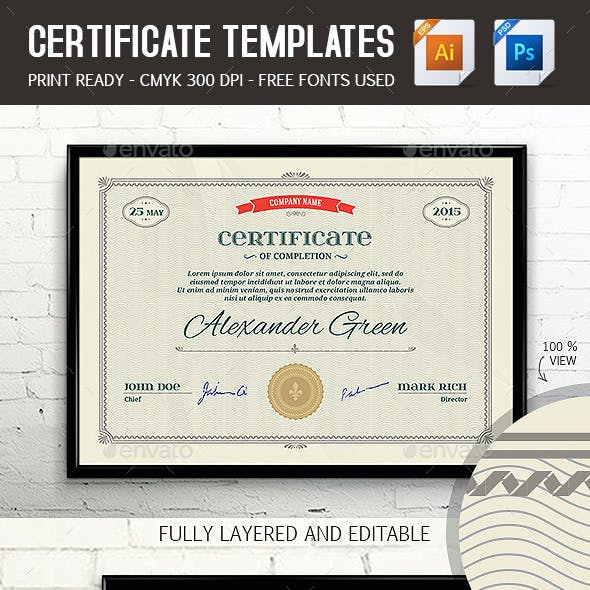 Certificate Template PSD & EPS Print Ready