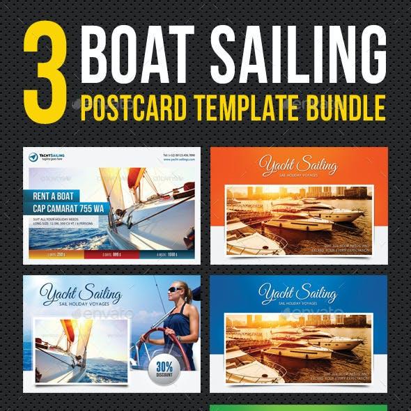 3 in 1 Boat Sailing Postcard Template Bundle 01