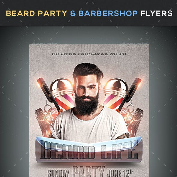 Beard Party & Barbershop Flyers