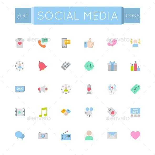 Vector Flat Social Media Icons