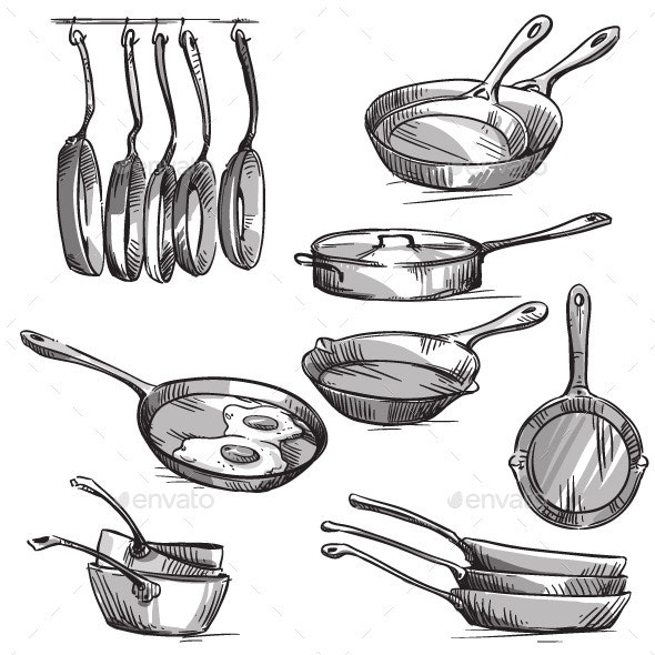 Set of Frying Pans  - Man-made Objects Objects