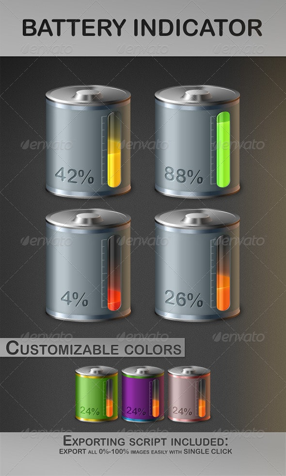 Battery Indicator (Fully Customizable) - Objects Illustrations
