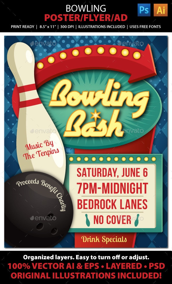 Bowling Event Poster, Flyer or Ad - Sports Events