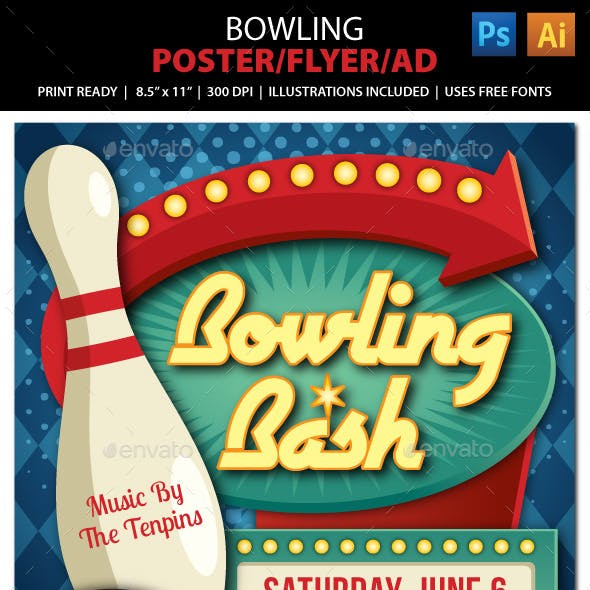 Bowling Event Poster, Flyer or Ad