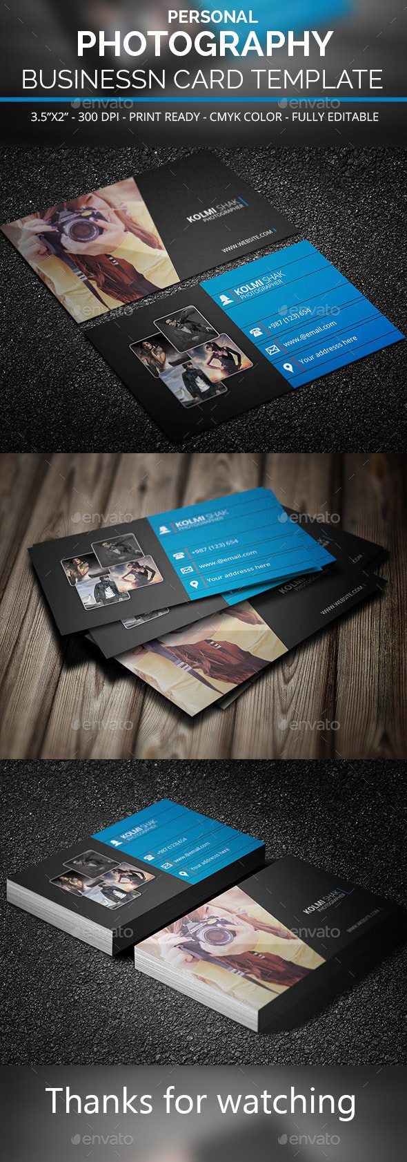 Personal Photography Business Card Template - Business Cards Print Templates