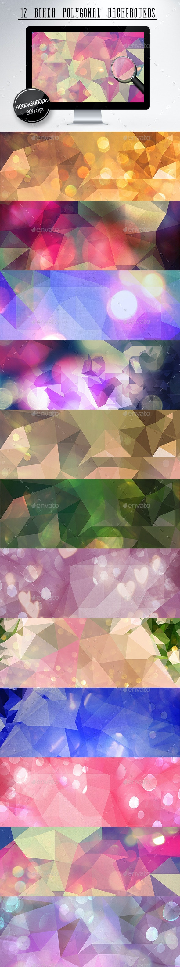 12 Bokeh Polygonal Backgrounds - Backgrounds Graphics