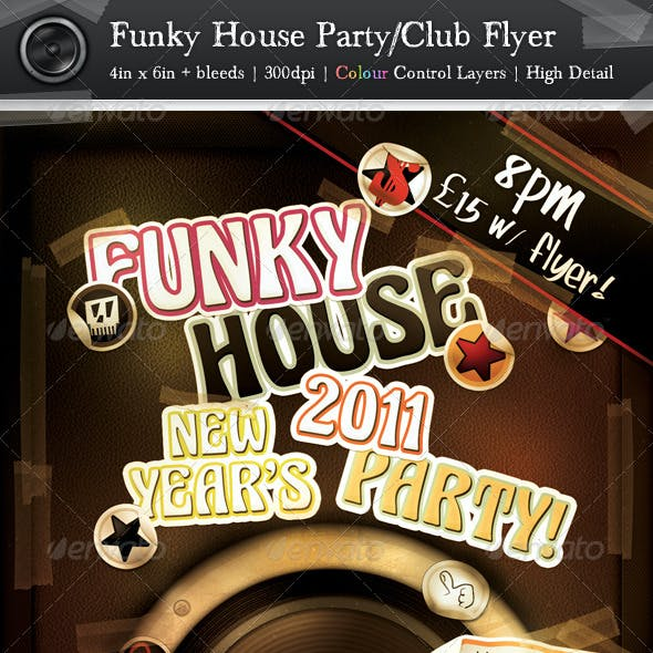 Funky House Party/Club Flyer