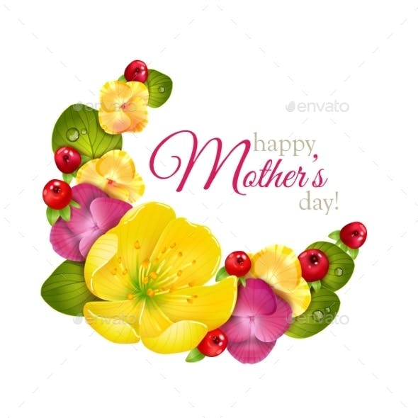 Greeting Card For Mothers Day With Flowers