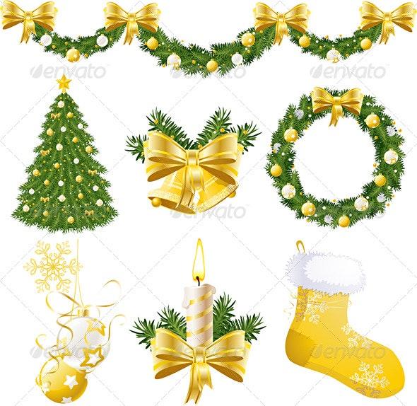 Golden Christmas Decorations - Christmas Seasons/Holidays