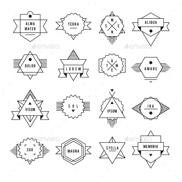 Monochrome Geometric Vintage Label.