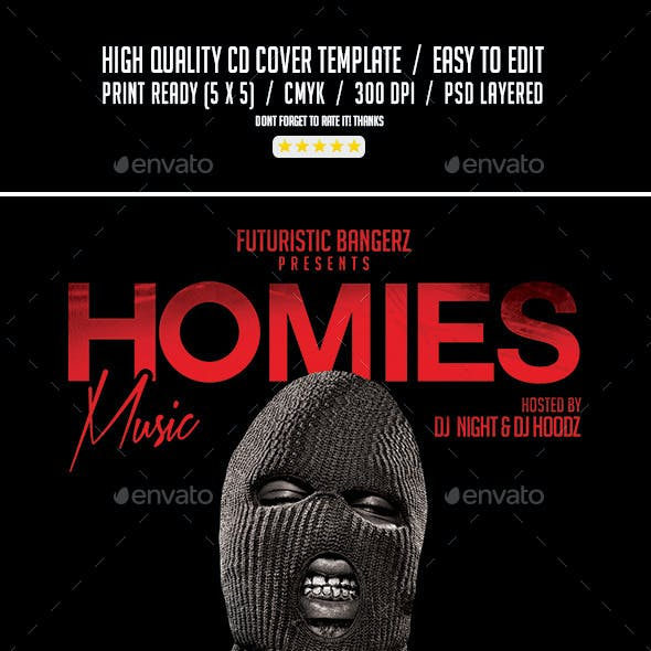 Homies Music | Mixtape Tape Album CD Cover Template