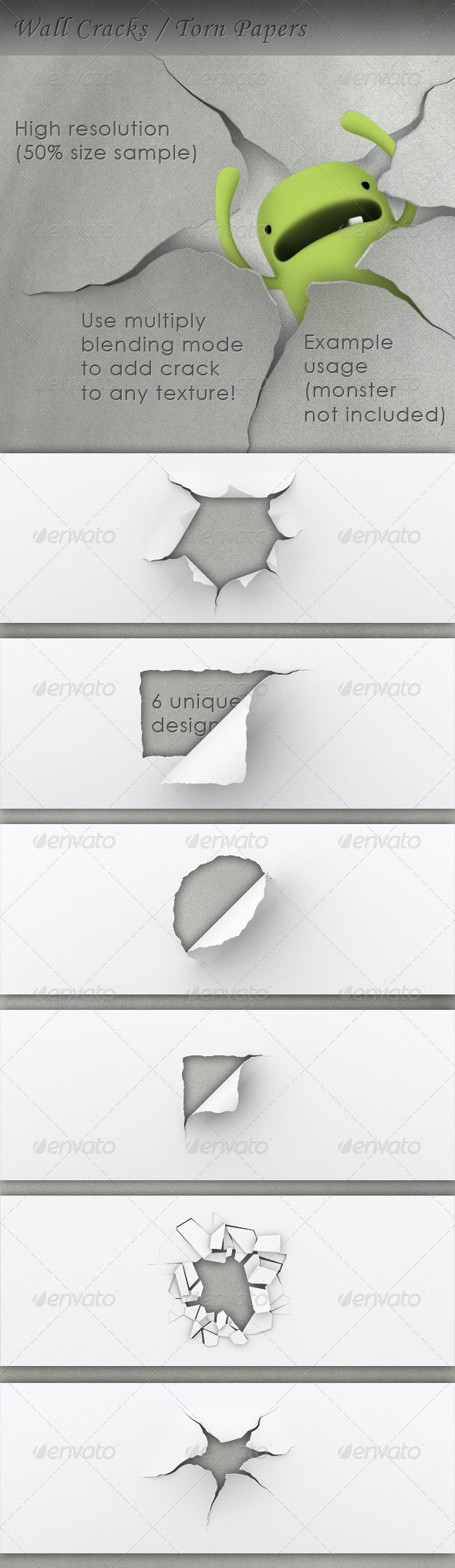 Torn Paper Hole / Wall Crack - 3D Renders Graphics