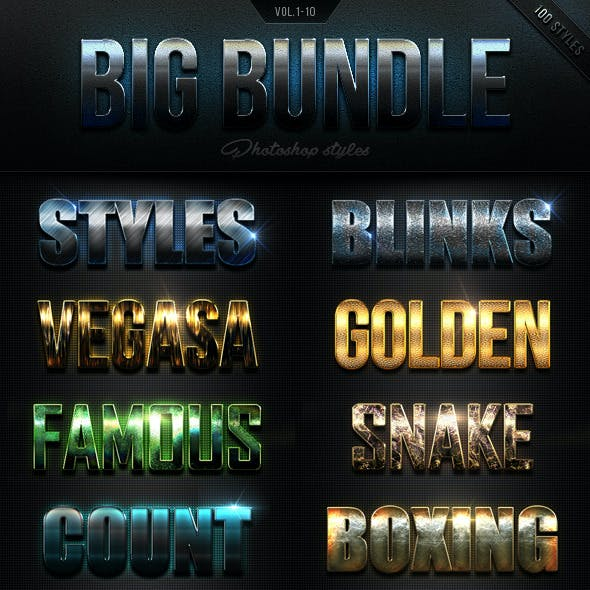 100 Trendy Photoshop Syles Big Bundle