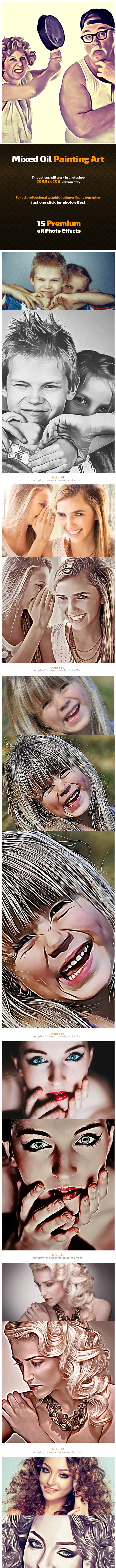Mixed Oil Painting Art - Photo Effects Actions