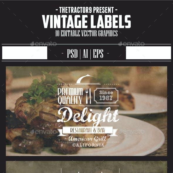 10 Vintage Label and Badges