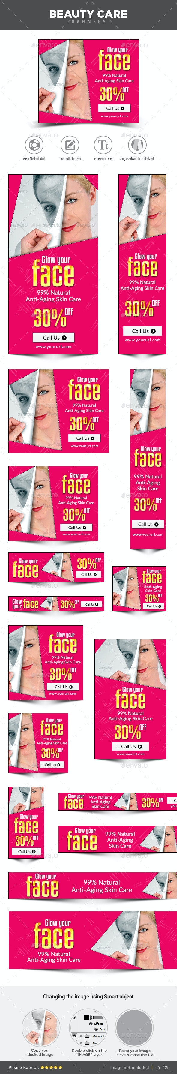 Beauty Care Banners - Banners & Ads Web Elements