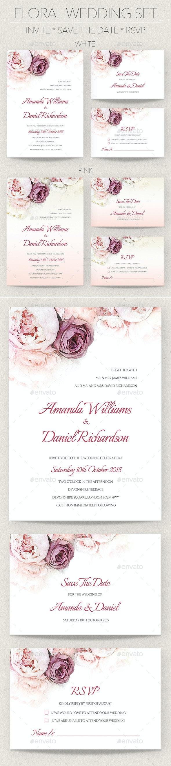 Floral Wedding Invitation Set - Weddings Cards & Invites