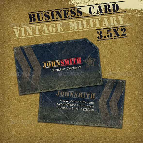 Vintage Military Style Business Card