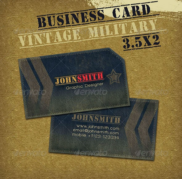 Vintage Military Style Business Card - Retro/Vintage Business Cards
