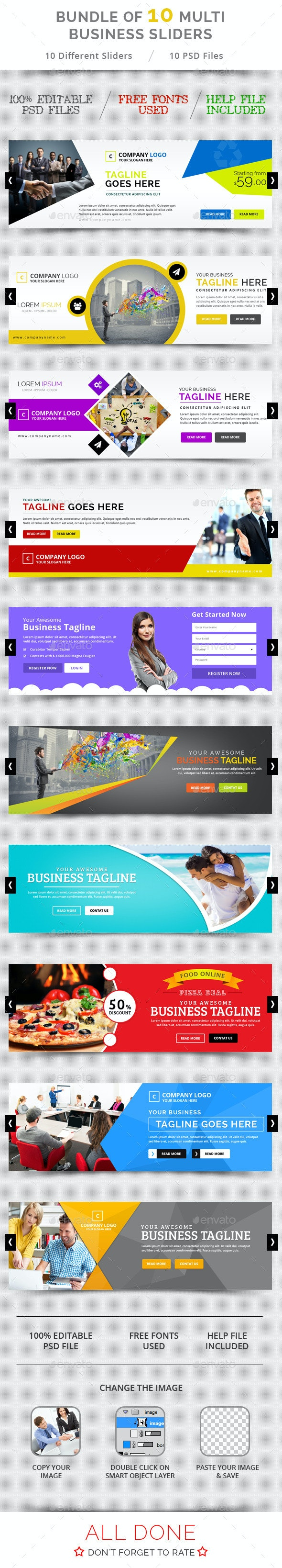 Bundle of 10 Multi Business Sliders - Sliders & Features Web Elements