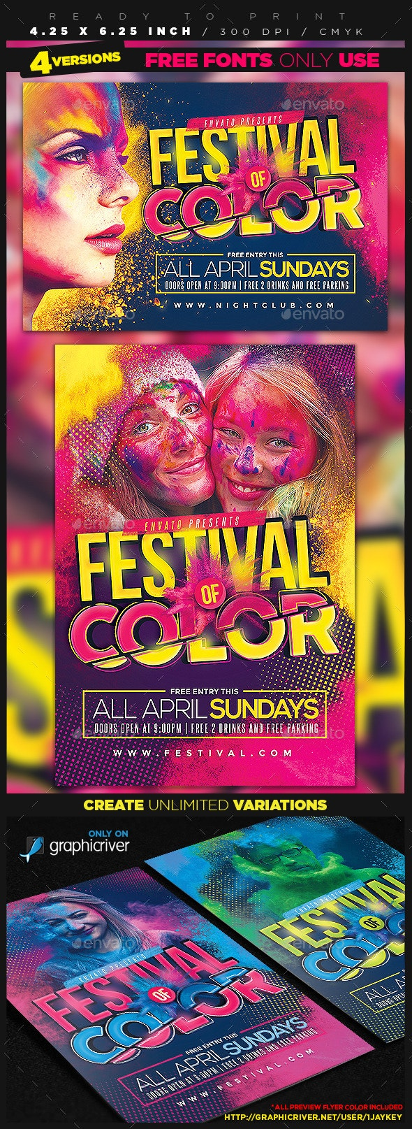 Festival of Color Event Flyer - Clubs & Parties Events