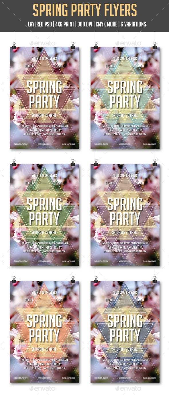 Spring Party Flyers - Clubs & Parties Events