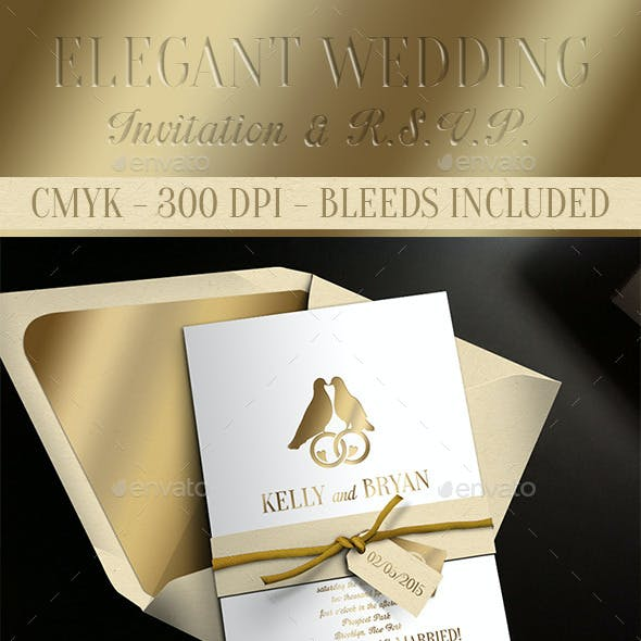 Elegant Wedding Invitation and RSVP