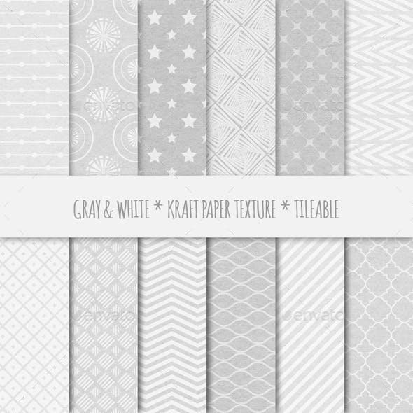 12 Gray Kraft Paper Seamless Patterns