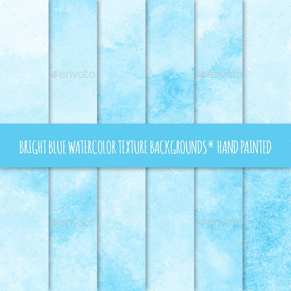 12 Bright Blue Watercolor Backgrounds