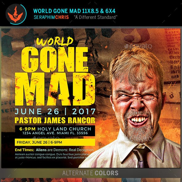 World Gone Mad Church Flyer Template