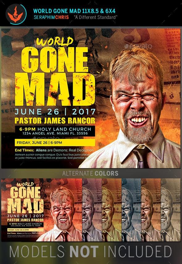 World Gone Mad Church Flyer Template - Church Flyers